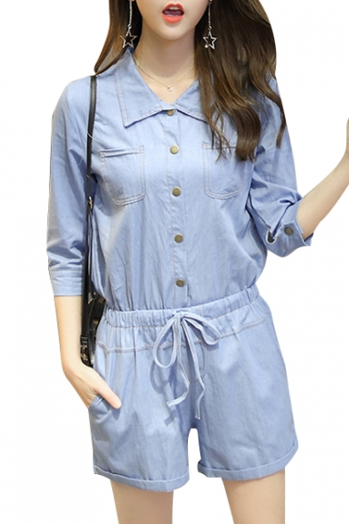 743e289f10f Pop Fashion Plain Lapel Button Front Drawstring Waist Half Sleeve Denim  Romper