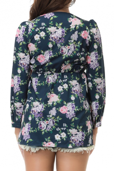 Waist Popular Floral Fashionable Front High Wrap Blouse Long Sleeve Print n1qwnBp0
