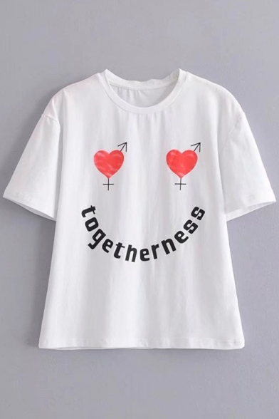 Sleeve Letter Printed Round Neck Heart Short Tee Leisure TOGETHERNESS BqYfY