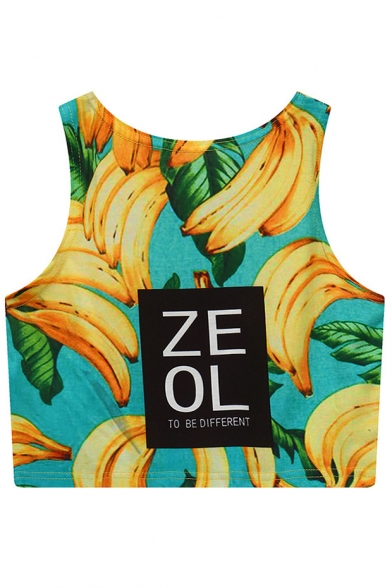 Summer Sleeveless Cropped Tank Banana Print Top Unique ZEOL Letter YwxFBqnaZP