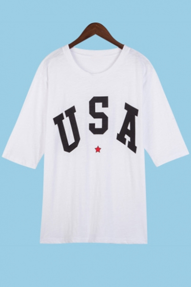 Tee Star Unique Round Letter Neck Print USA Casual Half Sleeves qE7zw71