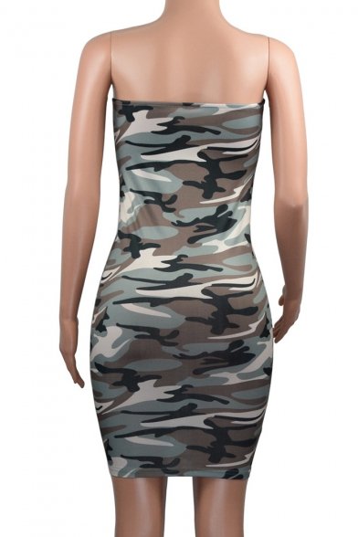Women's Strapless Camouflaged Pattern Mini Bodycon Summer Dress