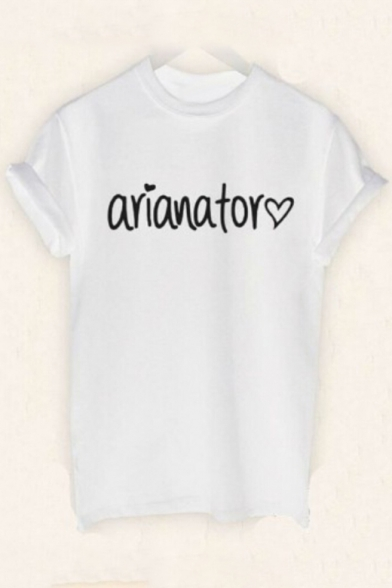Letter Sleeve Tee Printed ARIANATOR Heart Short Round Neck HPdPZw