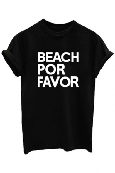 Short Tee Neck Printed FAVOR BEACH Letter Sleeve FOR Round nAqaOPfc
