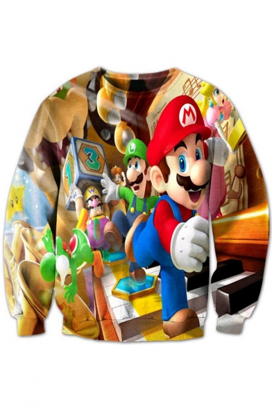 Printed Sleeve Round Character Game Sweatshirt Neck Cartoon Long Pullover w7SBFqnE