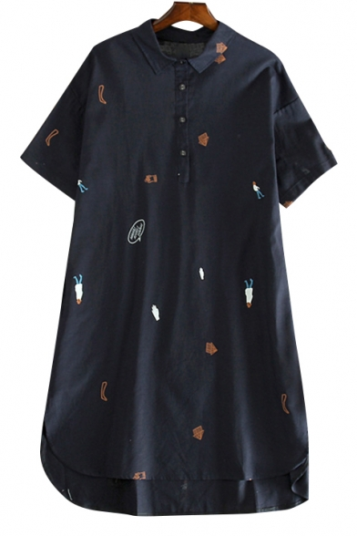 Childish Embroidered Lapel Collar Short Sleeve Buttons Down Midi Shirt Dress
