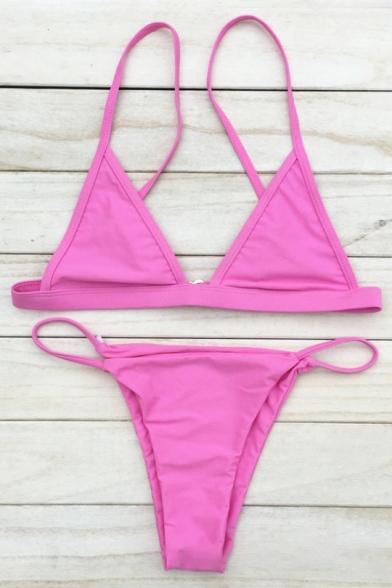 Classic Plain Spaghetti Straps Simple Fashion Beach Bikini Swimwear