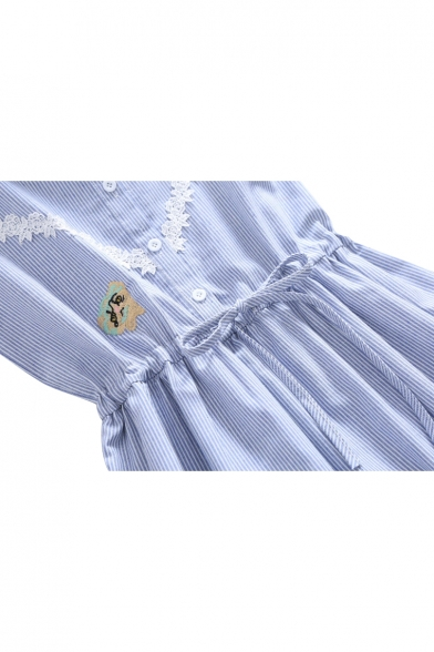 Panel Embroidery Drawstring Waist Cat Pattern Mini line Lace Striped Elegant Owl Dress A wpICq1xYA