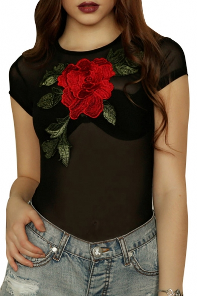 Sheer Round Embroidered Mesh Bodysuit Short Floral Neck Sleeve vqgBCBXw