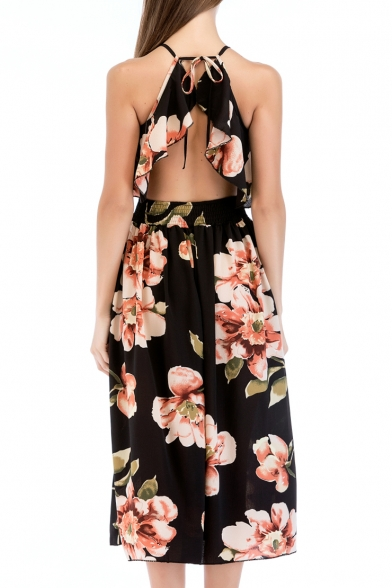 Floral Printed Halter Hollow Out Back Sleeveless Maxi A-Line Dress