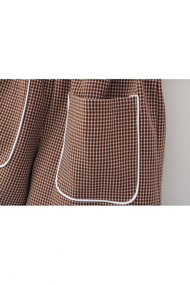Hot Style Plaids Pattern Belted Paperbag Waist Oversize Pocket Wide Leg Culottes
