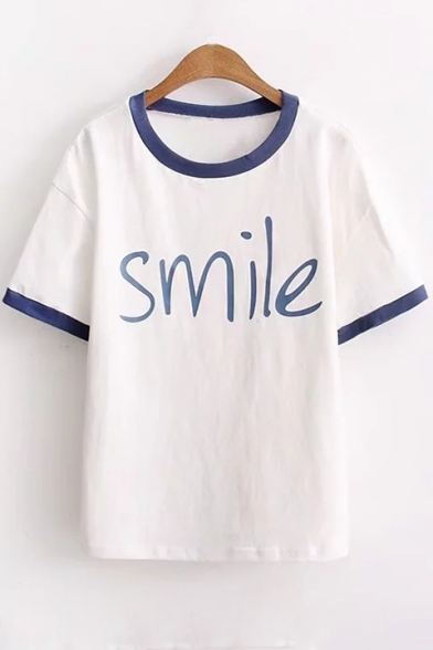 Contrast Stylish Round Short SMILE Sleeves Print Casual Letter Tee Trim Neck drHwrRq6n