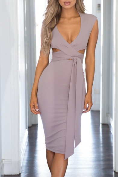 Stylish Hollow Out Detail Plunge Neck Bow Tie Waist Midi Bodycon Dress