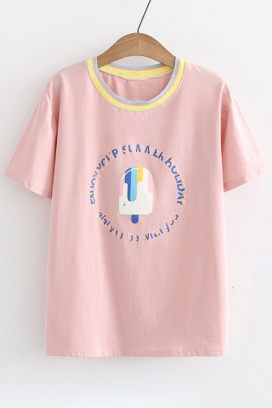 Sleeve Tee Summer Collection Short Round Popsicle Letter Neck Printed wxxa0C6Zq