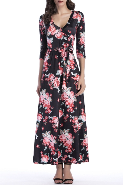 3/4 Length Sleeve V Neck Floral Printed Bow Tied Waist Maxi A-Line Dress