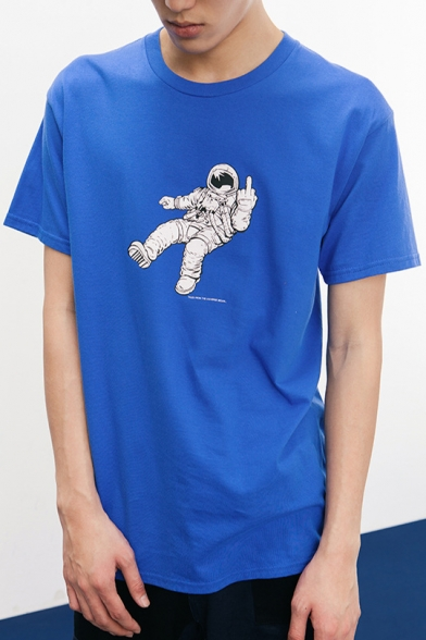Sleeve Tee Neck Printed Summer Round Astronaut Short Leisure qxB1wOOF