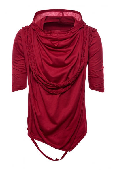 Embellished Hooded Braid Short Tee Plain Sleeve zwvvpq60