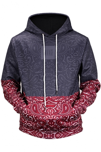Block Digital Hoodie Loose Long Sleeve Printed Folk Style Color Leisure U5vxR5qP