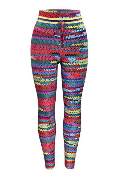 Купить со скидкой Digital Woolen Printed Drawstring Waist Skinny Leggings