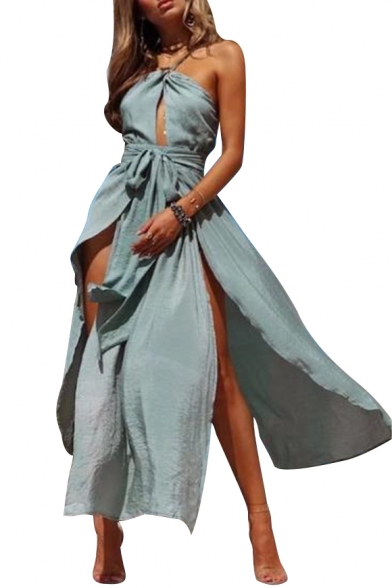 Fancy Tie Back Plain Spaghetti Straps Bow Belted Hollow Detail Maxi Cami Dress
