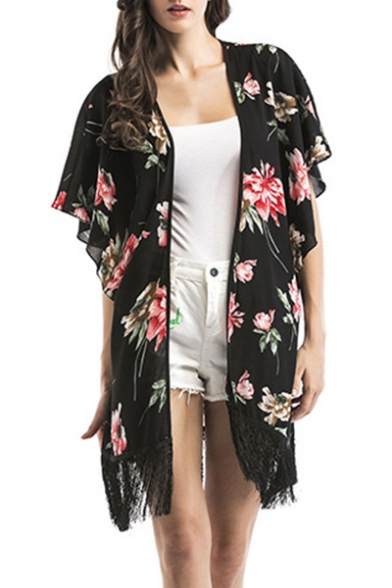 Floral Printed Collarless Short Sleeve Kimono Blouse with Tassel