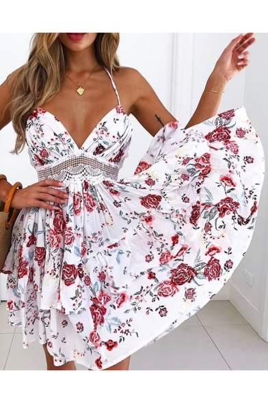 Floral Printed Halter Crochet Embellished Hollow Out Back Mini A-Line Dress