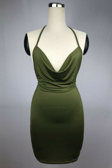 Neck Ruched Cut Cami Halter Mini Dress Back Bodycon Detail Low Tie dwPXxOU