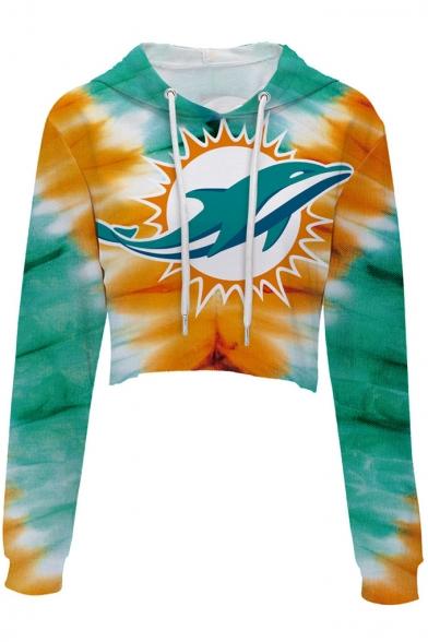 Hot Sale Color Block Dolphin Printed Long Sleeve Crop Hoodie