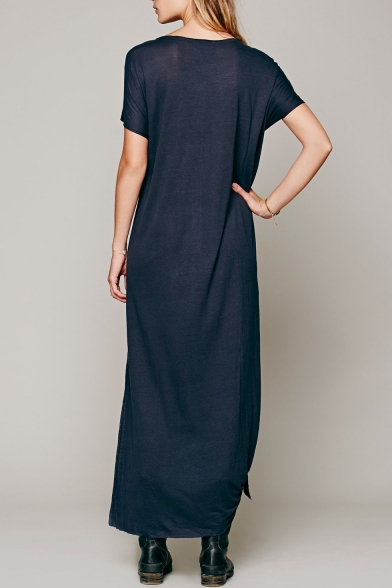 Dress Side Short Maxi Sleeve Hot Slit shirt Button Front Stylish T Plunge Neck 8qw76X