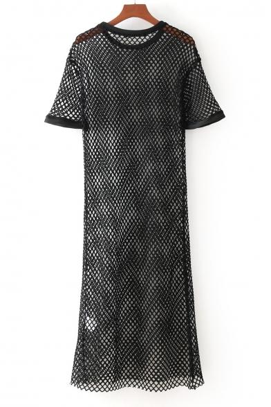 Shift Embellished Mesh Sheer Pearl Round Short Dress Neck Midi Sleeve Z8CxBwq8