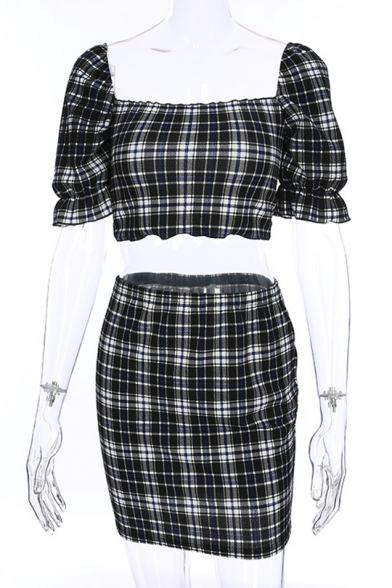 Sleeve Neck with Top Mini Bodycon ords Square Co Short Plaid Printed Skirt wqAOI1Z