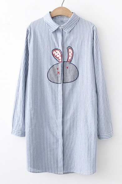 Rabbit Embroidered Lapel Collar Long Sleeve Striped Tunic Shirt