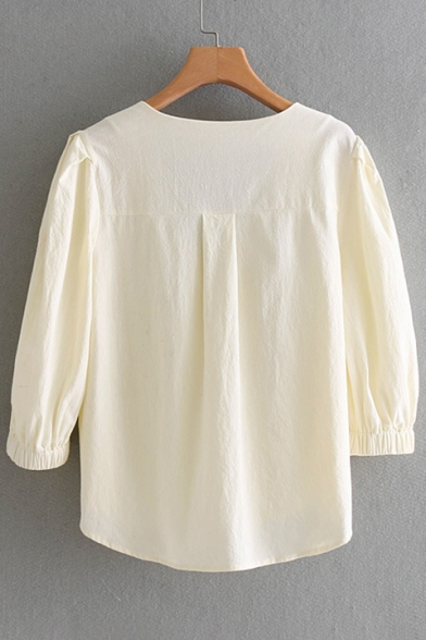 Retro V Neck Half Sleeve Buttons Down Elastic Cuff Plain Shirt