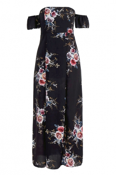 Sexy Floral Printed Off The Shoulder Short Sleeve Maxi A-Line Dress