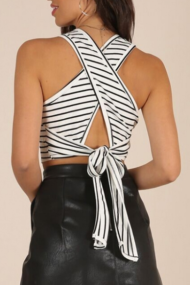 Sleeveless Out Hollow Tank Tied Back Printed Striped Sexy Crop ZYqRwTY