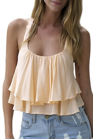 Scoop Ruffle Cropped Summer Detail Summer Tank Top Style Sleeveless Neck qY55twr