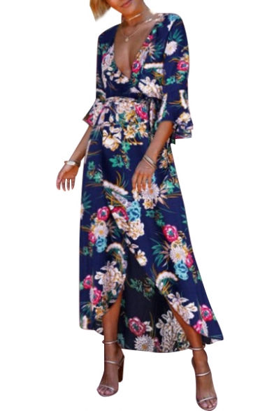 Trendy Floral Print Plunge Neck Dipped Hem Summer Wrap Dress