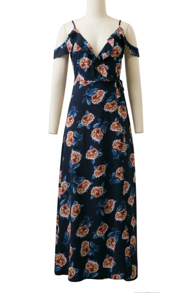 Unique Floral Print Off the Shoulder Ruffle Detail Maxi Wrap Dress