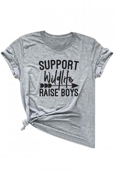 Unique Letter SUPPORT WILDLIFE RAISE BOYS Arrow Print Round Neck Short Sleeves Summer Tee