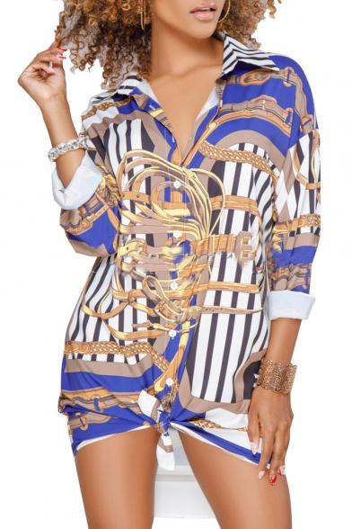 Front Striped Button Women's Lapel Chain Pattern Vintage Tunic Shirt PvwUdqXnx