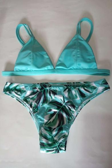 Bikini Women's Straps Print Swimwear Spaghetti Fashion Leaf Simple rFwzYxF