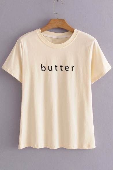 Neck Sleeve Letter Printed BUTTER Round Tee Short qB7XnAwxt