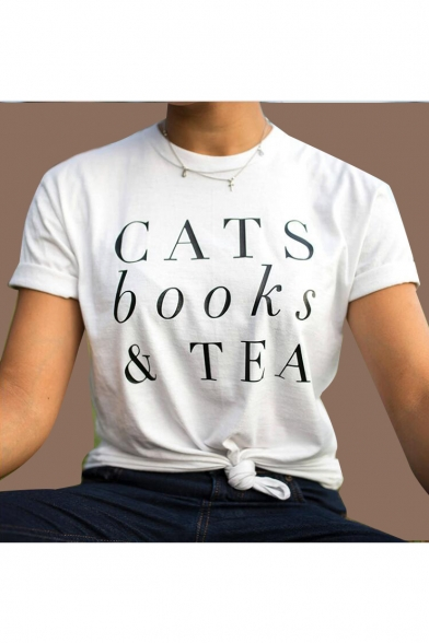 CATS BOOKS TEA Letter Printed Round Neck Short Sleeve Tee