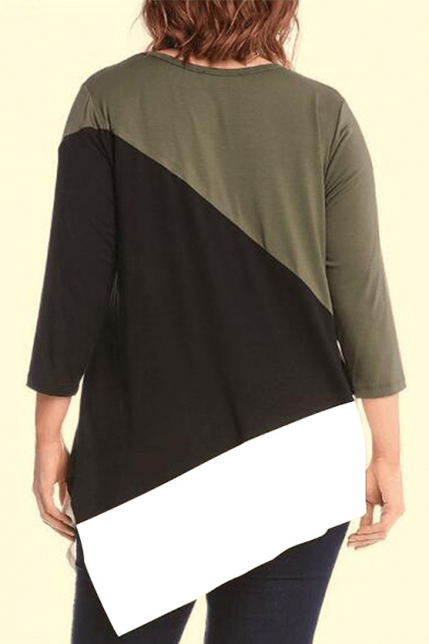 Hem Color Comfort Block Round Asymmetric Tee Neck Loose wR4fqvzB