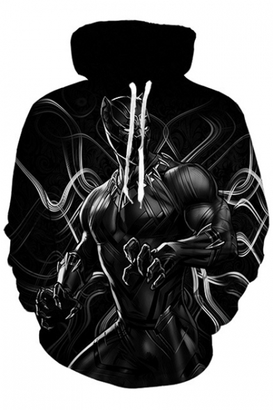 Cool Panther Printed Long Sleeve Oversize Hoodie with Pocket