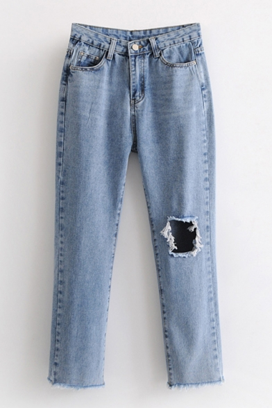 Cut Out Plain Zipper Fly Fringe Hem Straight Jeans