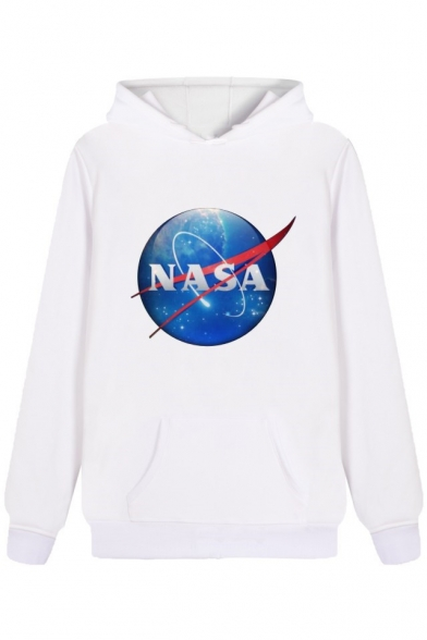 Nasa Letter Planet Printed Leisure Long Sleeve Hoodie With