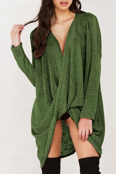 Plunge Neck Long Sleeve Plain Asymmetric Hem Tunic Sweater