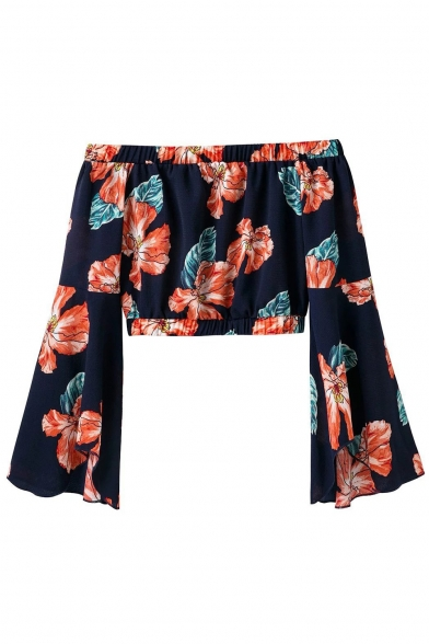 The Sexy Shoulder Floral Waist Long Blouse Off Elastic Sleeve Printed Cropped 7wOqSwtxPZ
