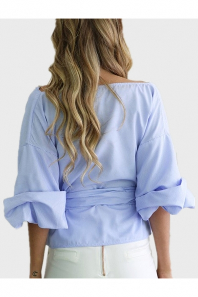 Striped Pattern Off the Shoulder Half Sleeve Bow Tie Waist Belted Women's Blouse